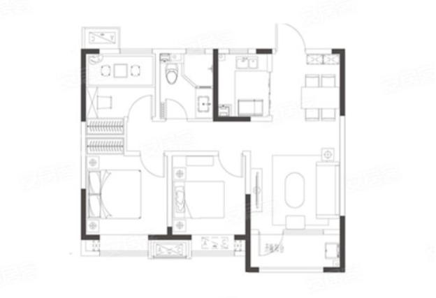 青岛装修方案 即墨青特城 3室2厅1卫 87平米
