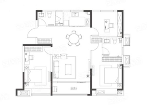青岛装修方案 即墨青特城 3室2厅2卫 120平米