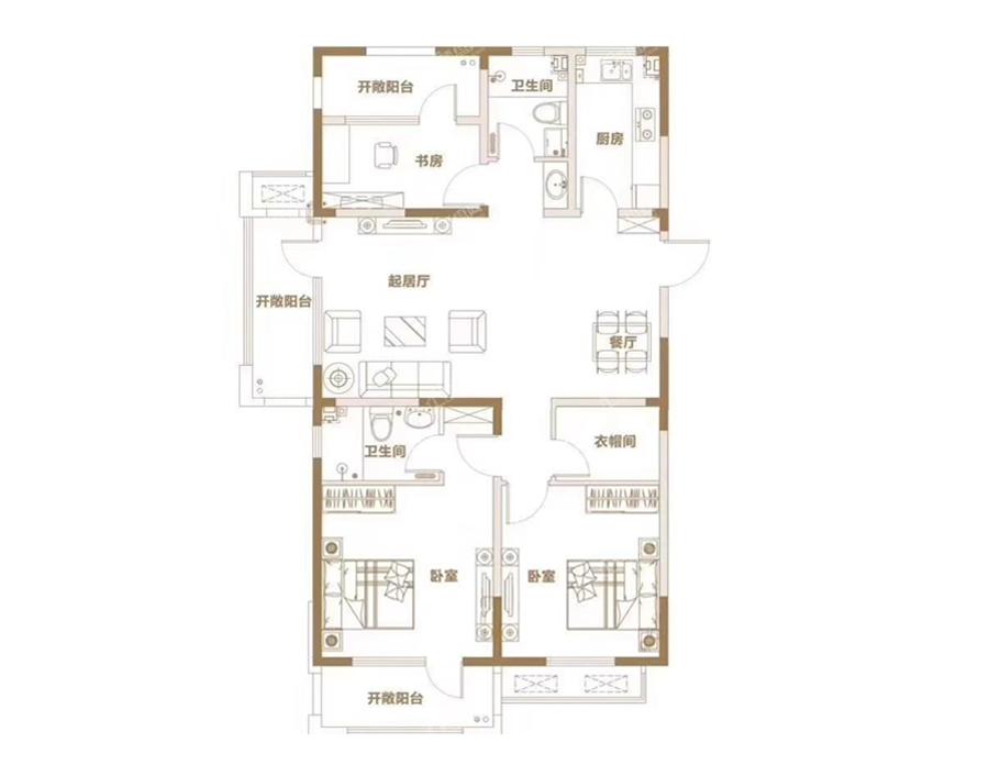青岛装修方案 青岛城建印象湾 3室2厅2卫 132平米