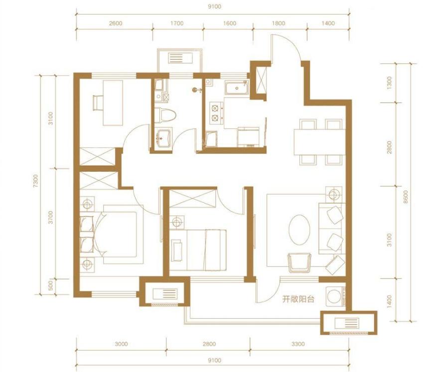 青岛装修方案 金茂国际智慧城 3室2厅1卫 88平米