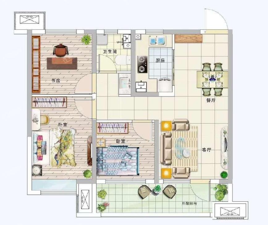 青岛装修方案 卓越·蔚蓝郡 3室2厅1卫 89平米