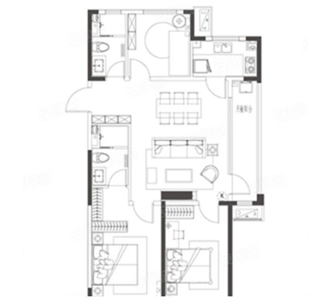 青岛装修方案 即墨青特城 3室2厅2卫 114平米