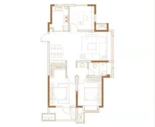 青岛装修方案 天泰天空之城 3室2厅1卫 99平米