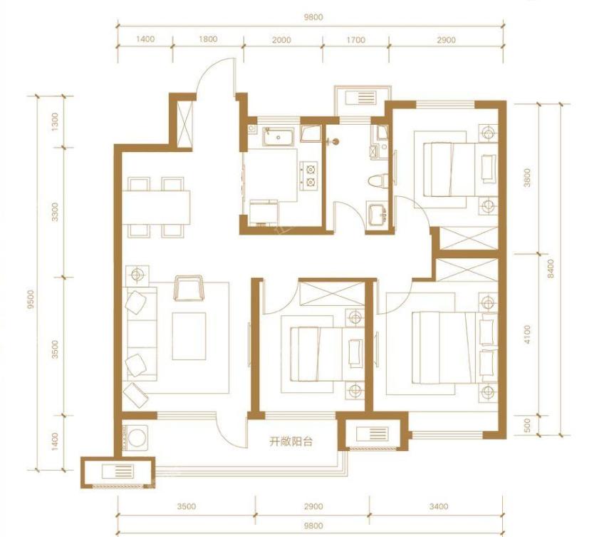 青岛装修方案 金茂国际智慧城 3室2厅1卫 105平米