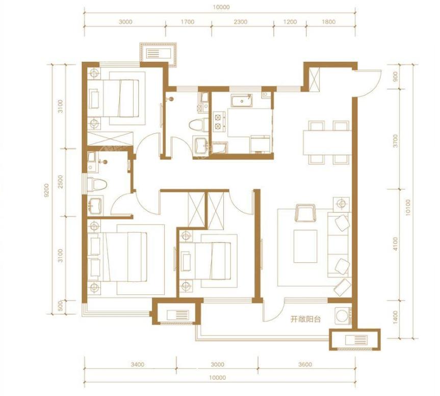 青岛装修方案 金茂国际智慧城 3室2厅2卫 118平米