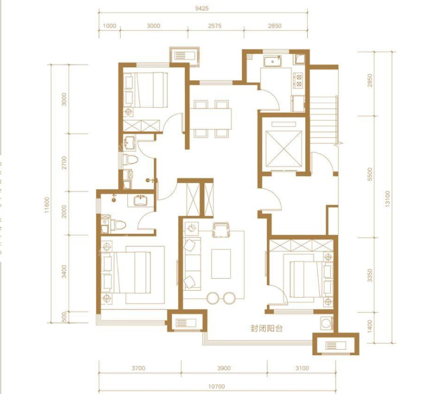 青岛装修方案 金茂国际智慧城 3室2厅2卫 125平米