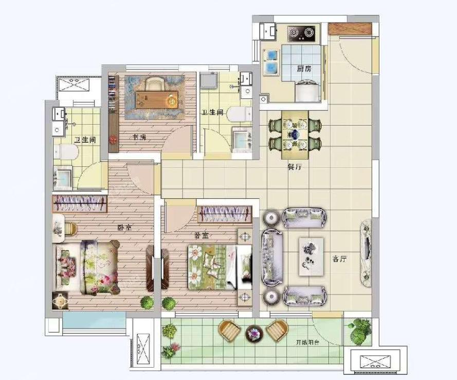 青岛装修方案 卓越·蔚蓝郡 3室2厅2卫 100平米