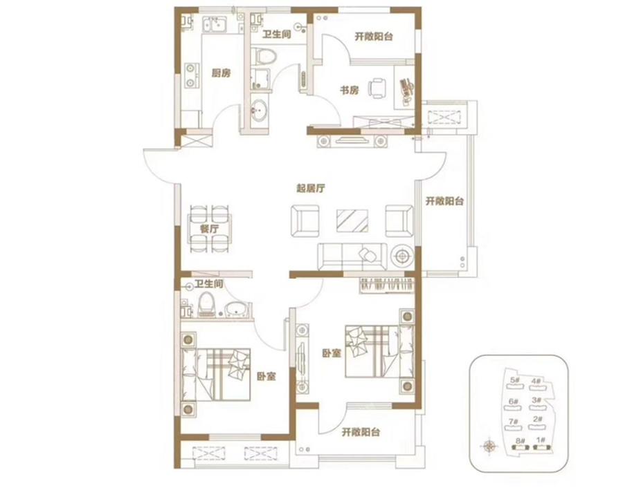 青岛装修方案 青岛城建印象湾 3室2厅2卫 112平米