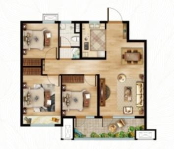 青岛装修方案 动投基金谷·春阳里 3室2厅1卫 88平米