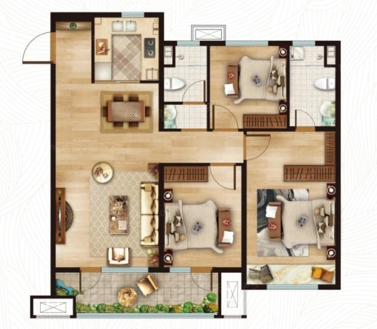 青岛装修方案 动投基金谷·春阳里 3室2厅2卫 115平米